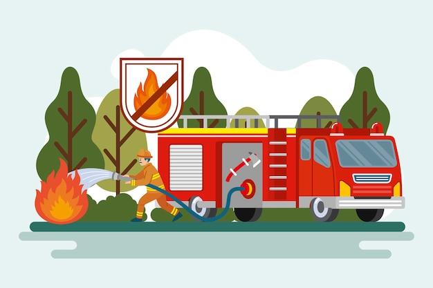 Concept de prévention des incendies illustration plate