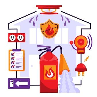 Concept de prévention des incendies illustré dessiné à la main