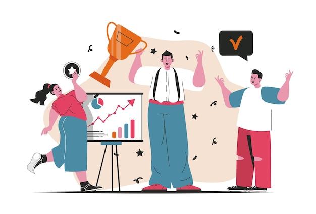 Concept de prix d'affaires isolé. atteinte des objectifs commerciaux, triomphe dans la carrière. scène de personnes en dessin animé plat. illustration vectorielle pour les blogs, site web, application mobile, matériel promotionnel.