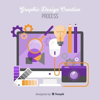 Concept de processus créatif de conception graphique
