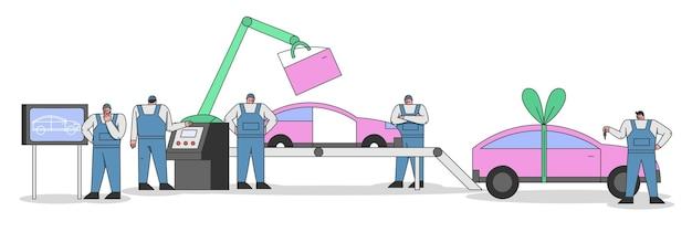 Concept de processus de fabrication de voitures avec le personnel de travail. les ingénieurs et les techniciens développent, contrôlent le processus d'assemblage de voitures sur un convoyeur. dessin animé contour linéaire plat vector illustration