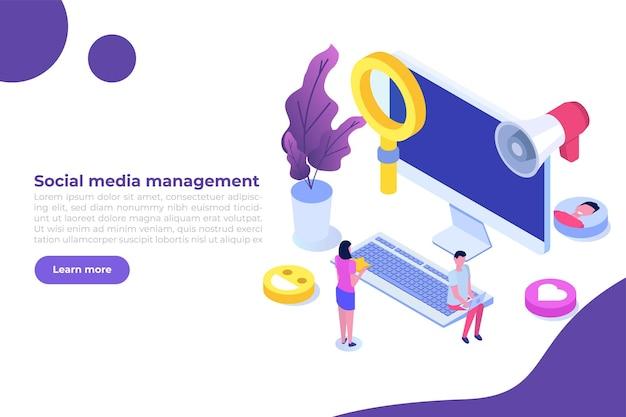 Concept de processus de stratégie de gestionnaire de contenu smm. illustration isométrique vectorielle plane.