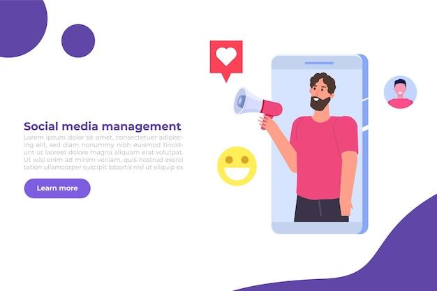 Concept de processus de stratégie de gestionnaire de contenu smm. illustration vectorielle plane.