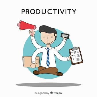 Concept de productivité dessiné main coloré