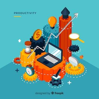 Concept de productivité moderne avec vue isométrique