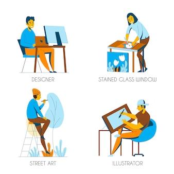 Concept de professions créatives avec artiste illustrateur designer plat isolé