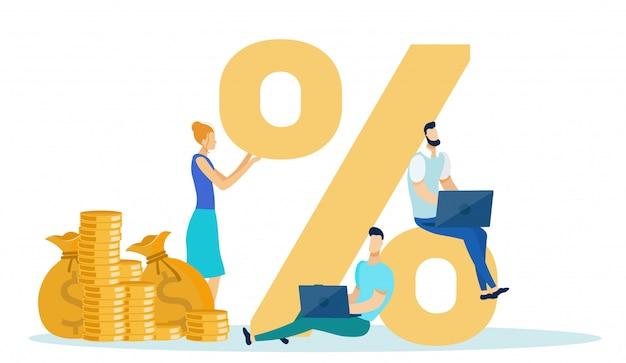 Concept de profit par revenu à taux de pourcentage, business.