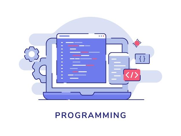 Concept de programmation code de programme fond isolé blanc