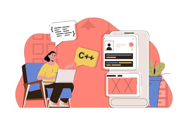 Concept de programmation femme travaillant à l'écriture du programme de test de code au bureau