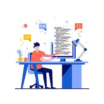Concept de programmation freelance avec caractère.