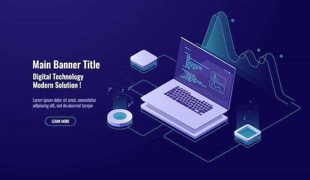 Concept de programmation icône isométrique, ordinateur portable avec code de programme à l'écran, visualisation de données néon sombre