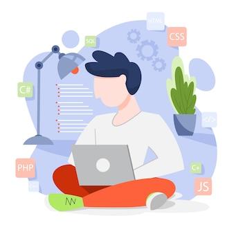 Concept de programmation. idée de travailler sur l'ordinateur