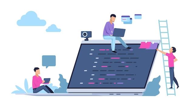 Concept de programmation avec des personnages de personnes. travail indépendant et marketing. entreprises d'illustration vectorielle