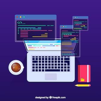 Concept de programmeurs avec un design plat