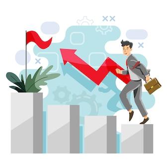 Concept de progrès. bénéfice et excédent. réussite et revenu. vecteur et illustration.