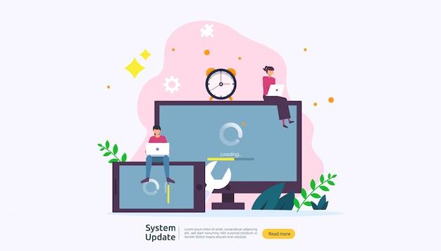 Concept de progression de la mise à jour du système d'exploitation.
