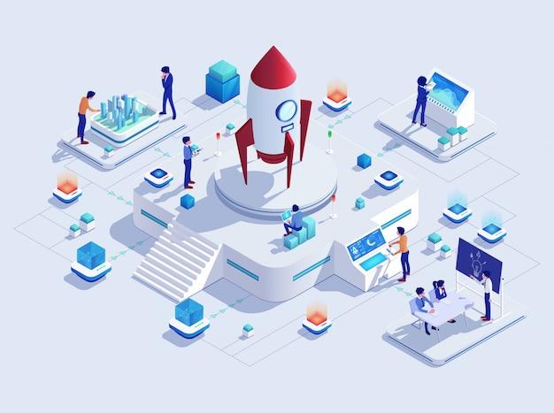 Concept de projet d'entreprise de démarrage de fusée, illustration de fusée
