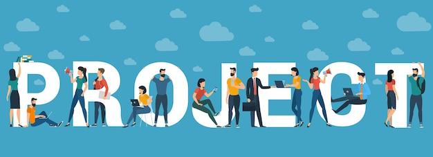 Concept de projet pour en-tête de site web, carte de voeux et bannière, modèle de présentation. personnages de personnes design plat avec lettres blanches