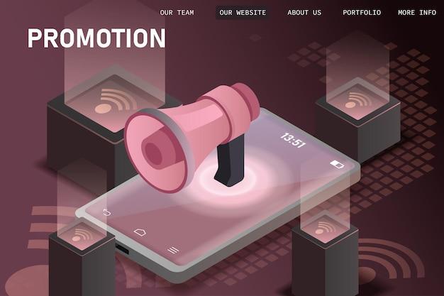 Concept de promotion commerciale avec mégaphone géant.