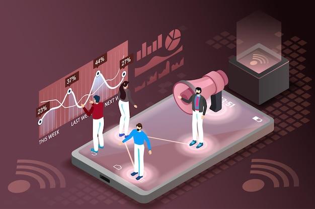 Concept de promotion commerciale. scène isométrique 3d, l'homme s'adresse à une foule d'hommes d'affaires avec un mégaphone géant.