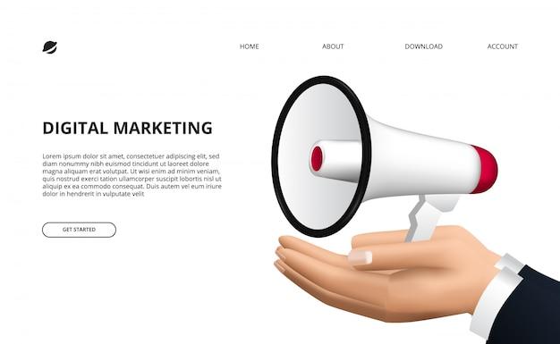 Concept de promotion avec illustration de mégaphone 3d et main pour la publicité, le marketing, l'information