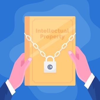 Concept de propriété intellectuelle avec document et serrure