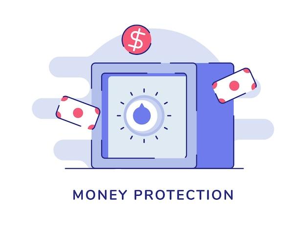 Concept de protection de l'argent coffre-fort banque dollar blanc fond isolé