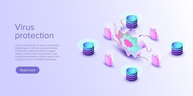 Concept de protection contre les virus informatiques en illustration vectorielle isométrique