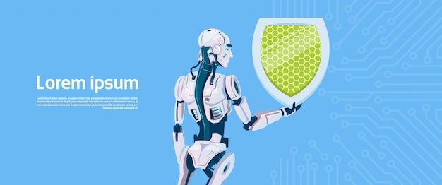 Concept de protection des données du bouclier robotique moderne, technologie de mécanisme d'intelligence artificielle futuriste