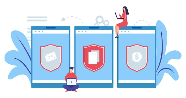 Concept de protection des données mobiles. concept de sécurité internet. protéger les informations, illustration de l'argent. développeurs de logiciels de protection d'ordinateur plat. protection de sécurité, protection de la confidentialité du réseau