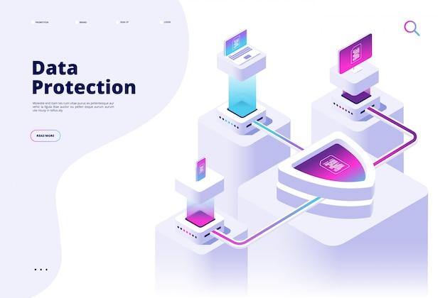 Concept de protection des données. page de destination du logiciel de confidentialité de la sécurité de l'accès à internet par un canal de sécurité numérique