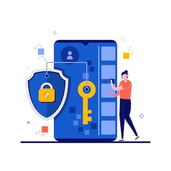 Concept de protection des données avec personnage, téléphone portable, bouclier, serrure, clé.