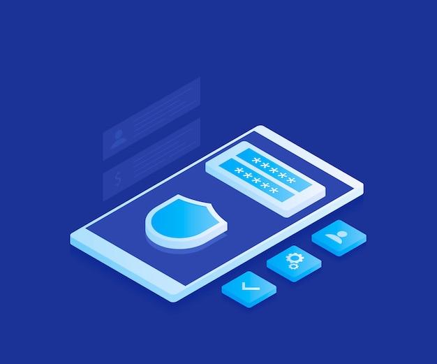 Concept de protection des données personnelles. cyber sécurité et confidentialité. chiffrement du trafic, vpn, protection antivirus. illustration moderne dans un style isométrique