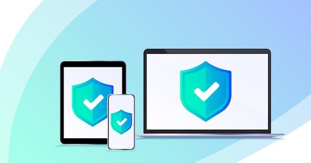 Concept de protection des données protection de la sécurité des données illustration de concept de vecteur plat isométrique