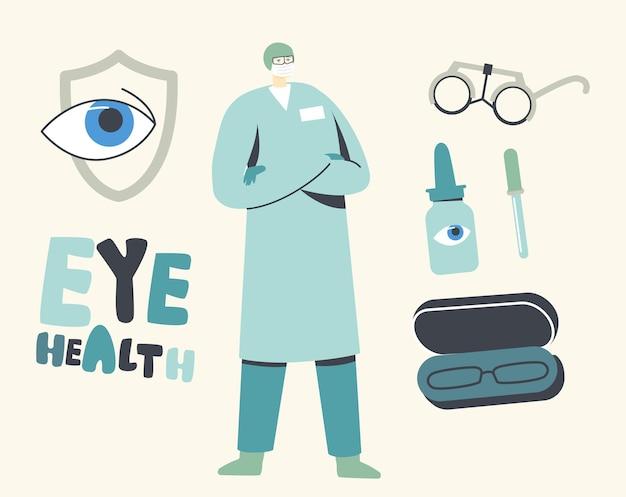 Concept de protection des yeux. lunettes de vue doctor character prescript et solution pour la protection de la vue