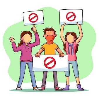 Concept de protestation des personnes