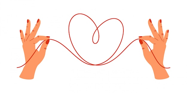 Concept de psychologie mains humaines tenant les extrémités des fils rouges en forme de coeur.