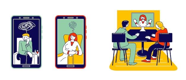 Concept de psychothérapie en ligne. illustration plate de dessin animé
