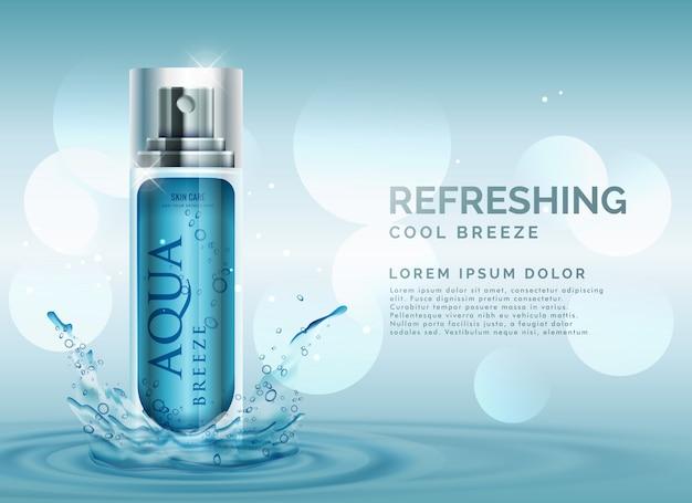 Concept publicité cosmétique rafraîchissante avec pulvérisation éclaboussures d'eau