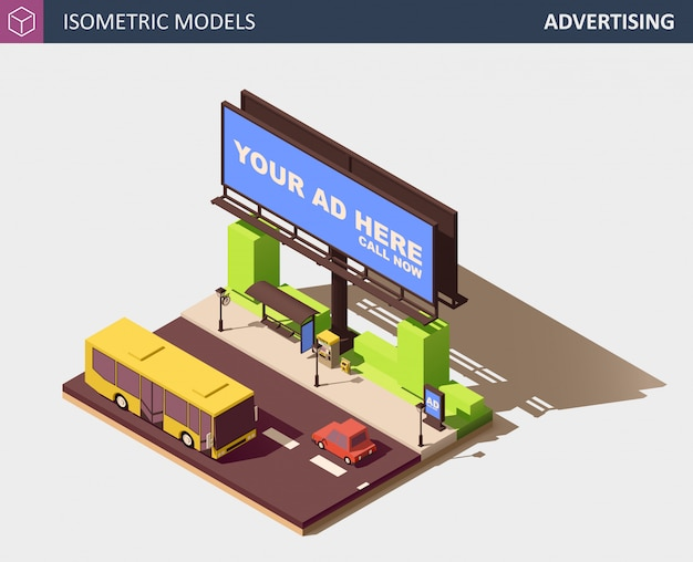 Concept de publicité extérieure avec panneau d'affichage. illustration isométrique.