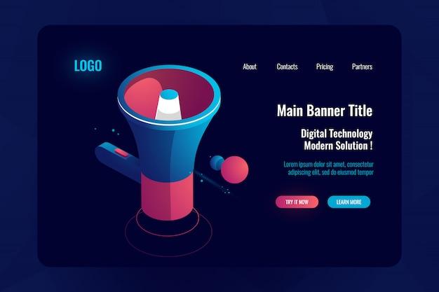 Concept de publicité et de promotion, icône d'isométrie du haut-parleur, notification