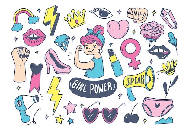 Concept de puissance de fille dans le style de doodle