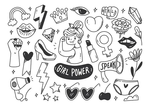 Concept de puissance de fille dans le vecteur de style doodle