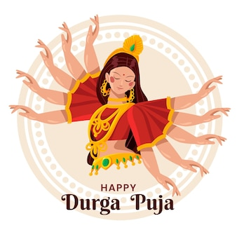 Concept de puja durga dessiné à la main