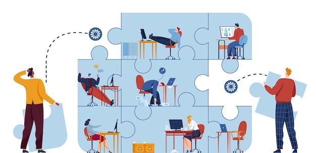 Concept de puzzle d'entreprise, solution et illustration de succès. stratégie et puzzle créatif