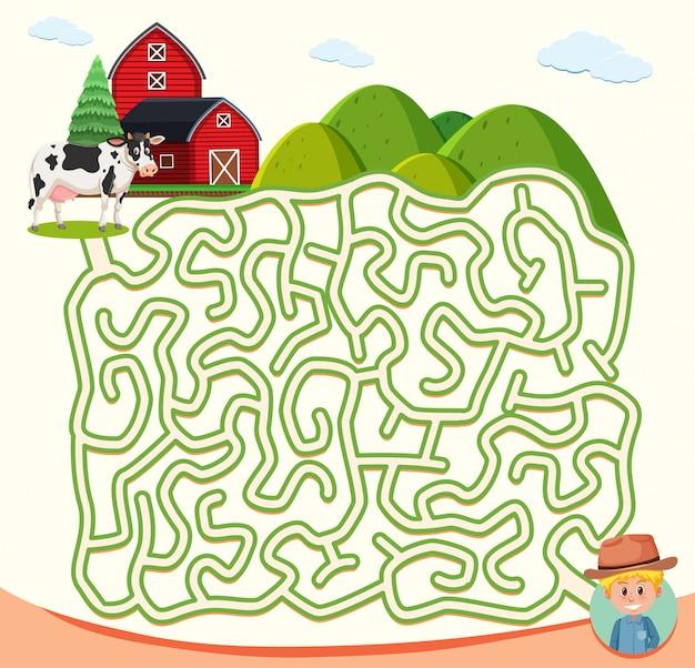 Concept de puzzle de labyrinthe de ferme