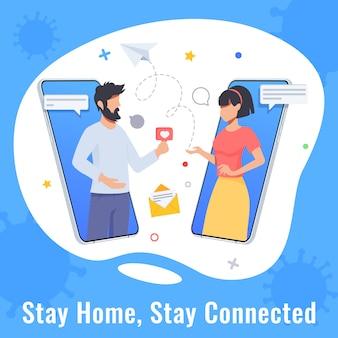 Concept de quarantaine et d'isolement automatique. femme et homme discutant. rencontres en ligne, conversation de couple pendant la quarantaine. protéger contre les virus