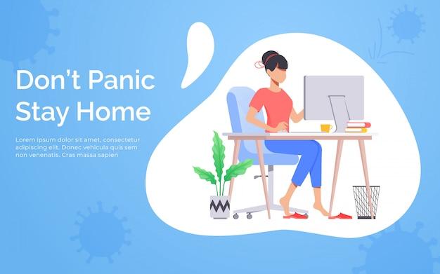 Concept de quarantaine et d'isolement automatique. une fille travaille à domicile pour éviter les virus. rester à la maison avec auto-quarantaine. protéger contre les virus