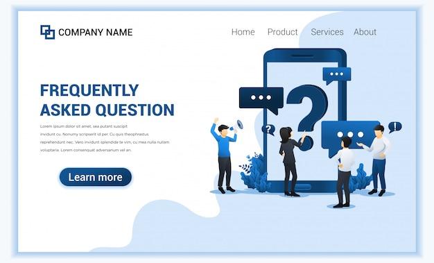 Concept de questions fréquemment posées avec des personnes demandant au centre d'assistance en ligne via un téléphone mobile.