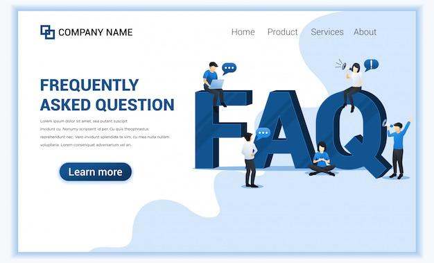 Concept de questions fréquemment posées avec des personnes travaillant à proximité d'un grand symbole faq.